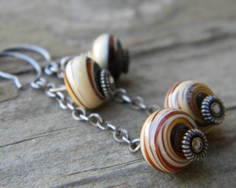 SALE - caramel swirl dangle earrings - oxidized silver and lampwork glass beads