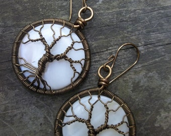 MADE TO ORDER Copper Wire Wrapped Tree of Life Earrings