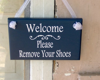 Welcome Please Remove Your Shoes Wood Vinyl Sign Nautical Navy Blue Home Decor Porch Entry Door Hanger Household Plaque Unique Gifts Friends