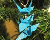 Silver Bamboo on Turquoise Blue Origami Crane Trio Christmas Tree Ornament Holiday Decoration