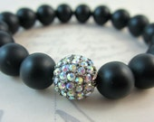 Black Onyx and AB Rhinestone Stretch Bracelet.  Holiday Jewelry.  Gifts for Her.