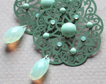 Green Filigree & Swarovski Earrings
