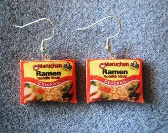 Maruchan Ramen Noodle Kitsch Dangle Polymer Clay Junk Food Earrings Hypo Allergenic Nickle-Free