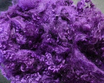 Eggplant Hand Dyed Primo Kid Mohair Locks One Ounces Spinning Carding Spinning