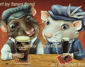 Guinness Lovers - 5x7 print of an oil painting by Tanya Bond - surreal pop - animal fantasy art Irish pub Guiness Beer drink alcohol