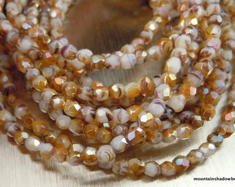3mm Czech Beads - Opaque White Caramel Luster Firepolished Faceted 50 pcs (G - 75)