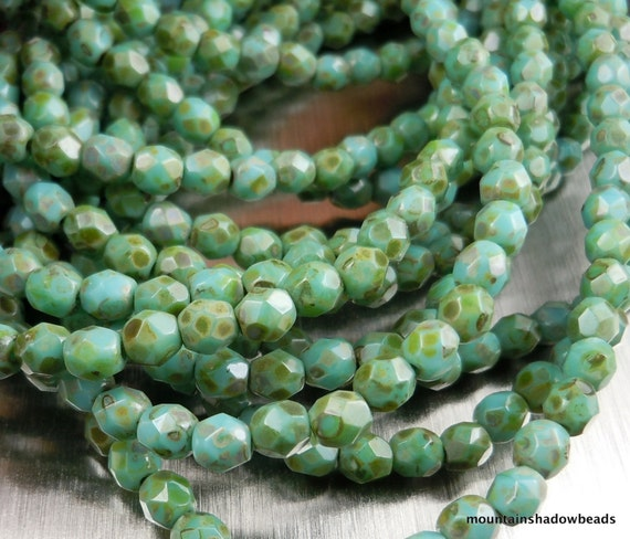 Czech Glass Beads 4mm Faceted Round Opaque Turquoise Picasso 50