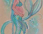 open edition aceo trading card mermaid pregnancy baby blue 2.5x3.5 inches by renee