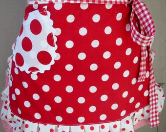Aprons - Womens Red Pokadotted Aprons Aprons - I Love Lucy Apron - Red and White Dot Apron - Annies Attic Aprons