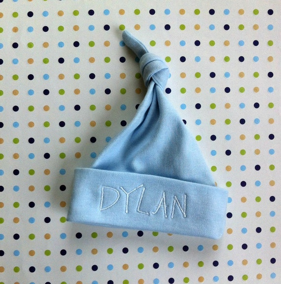 Boy Baby Personalized Hat | Monogrammed Blue Top Knot Baby Hat | Personalized Newborn Baby Beanie | Personalized Newborn Cap | Blue Boy Hat