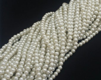 Ivory Glass Pearls - 42 pcs. - Ivory White Pearl - Ivory Pearl Beads -  8mm Ivory Glass Pearls