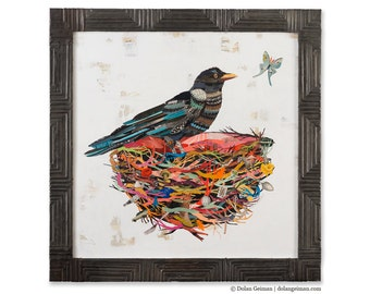 Crow in Nest with Moth Paper Collage Art