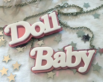 DOLL or BABY Double Layer Acrylic Nameplate Necklace with Special Offer