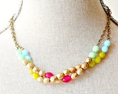 Pink and Gold Beaded Strand Necklace