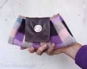 Wool purse clutch bag pastel pink purple navy grey blue plum leather memake handmade handbag