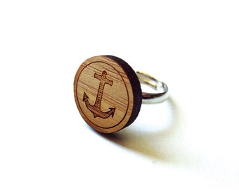 Anchor Ring. Nautical Ring. Wood Ring. Gifts Under 25. Gift for Her. Anchor Jewelry. Friend Gift. Girlfriend Gift. Mom Gift. Laser Cut. Ahoy