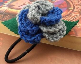 Crocheted Rose Ponytail Holder or Bracelet - Blue and Gray (SWG-HP-HWRA01)