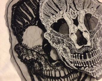 Embroidered Skull  Applique (Only Available In Beige)