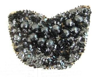 VINTAGE Black Tulip shape glass BEADS and sequin APPLIQUE
