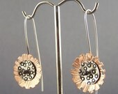 Sterling Silver and Copper Mixed Metal Mod Flower Earrings 4