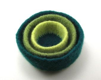 Felted wool nesting bowls - felted bowl set - forest, leaf and lemongrass