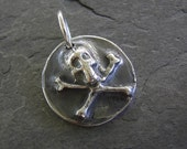 Skull And Cross Bones Silver Pendant - Eco Friendly Fine Silver Charm - Pirate Jewelry - Skull Jewelry - Silver Skull Pendant
