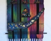 "Hand Dyed Handwoven Silk Tapestry ""Nefertiti Graffiti"" with Silk Needle Felted Appliques"