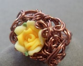 GIlded Posy Yellow Rose Ring in Antiqued Copper