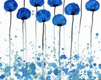Watercolor Painting: Watercolor Flower Painting -- Art Print --  Ocean and Sky -- Blue Flowers -- 8x10