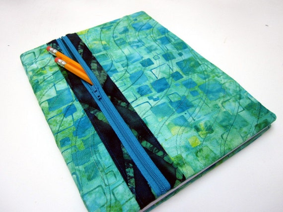 Fabric Book Cover With Pocket : Composition notebook fabric cover zipper pocket blank book