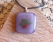 Handpainted Enamel Bonsai Tree Fused Glass Lavender Pendant With Necklace