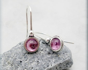 Pink Sapphire Earrings Cabochon Sterling Silver Gemstone Jewelry Minimalist (SE991)