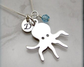 Octopus Necklace Personalized Initial Charm Jewelry Handmade Handstamped Custom Monogram Birthstone Beach Ocean Sterling Silver (SN851)