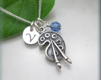 Artist Necklace Artist Palette Necklace Charm Jewelry Initial Personalized Necklace (SN855)