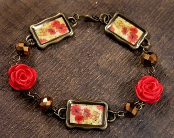 Red, orange and yellow flowers bronze framed pictures antique brass, brown glass handmade bracelet