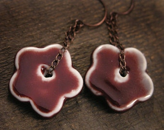 Cranberry red ceramic flower beads, antique copper chain handmade earrings