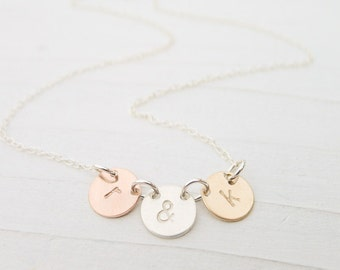 Mixed Metal Jewelry Tiny Initial Necklace Gold Silver Rose Gold Initial Jewelry Mixed Metal Mothers Small Monogram Charm Linked Circles