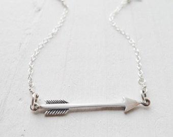 Sterling Silver Arrow Bracelet Wanderlust Jewelry Wander Lust Bracelets Arrow Head Jewellery Sideways Aarow Charm Gifts for Best Friend