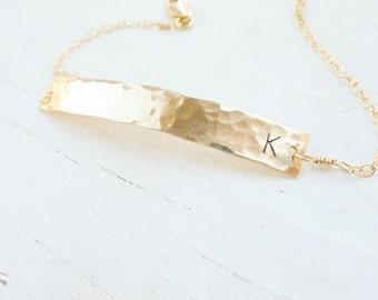 Gold Bar Braclelet Skinny Minimal Personalized Bar Bracelets Petite Gold Hammered Initial Jewelry Monogram Bracelet Bridesmaid Gift