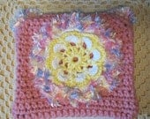 Pretty handmade crochet pouch with large flower for your treasures.
