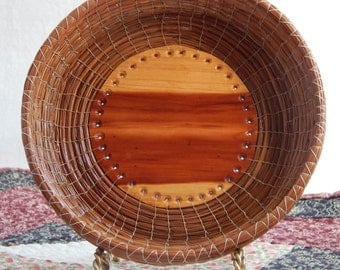 Pine Needle Coil Woven Basket with Cedar Wood Bottom