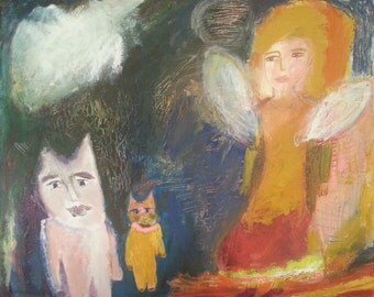 "Original acrylic painting on 16"" x 20"" canvas, ""The Angel"""