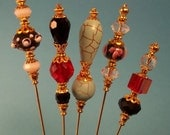 5 Diff Hatpins Lampwork beads 6 inches long. .We sell hat stick  pin blanks,make your own,findings supplies...S8