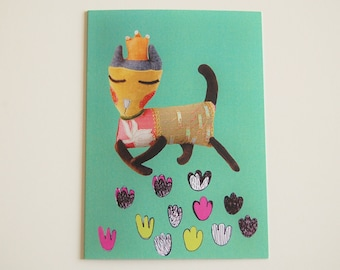 Cat Greeting Card Digitally Printed Textile Art Princess Doll - Green