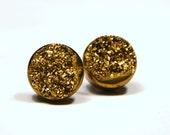 Gold Druzy Stud Earrings Metallic Circle Round Small Genuine Titanium Drusy Quartz Gemstone Jewelry for Women on Sterling Silver Post Stud