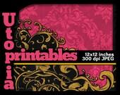 Pink black swirls scrapbook paper