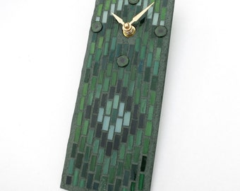 Small Wall Clock, Green Clock Artisan Stained Glass Mosaic Art Bargello Pattern, Masculine Clock for Man Cave, Office Clock,