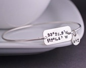 Latitude Longitude Bracelet, Personalized Wife Gift, Custom Coordinates Jewelry, Sterling Silver Bangle Bracelet