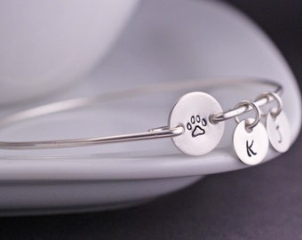 Paw Print Bracelet, Sterling Silver Personalized Pet Memorial Jewelry, Dog or Cat Lover Gift