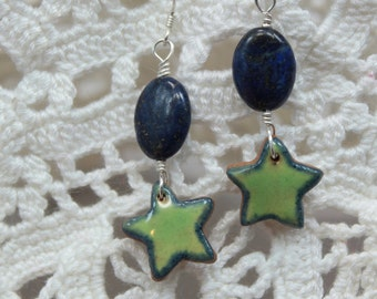 Hand Sculpted Ceramic Star Earrings - Lapis Lazuli - Sterling Silver